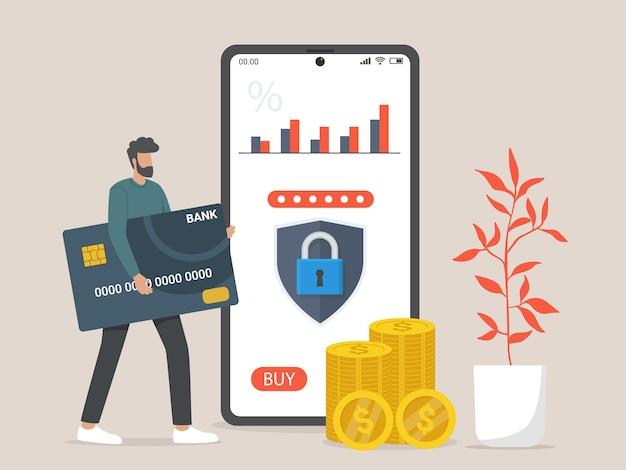 Carta di credito e illustrazione di concetto di mobile banking