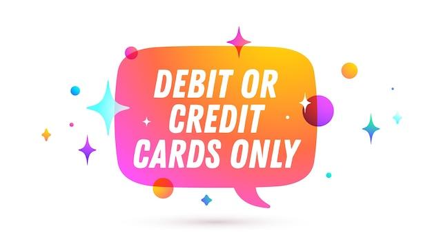 Solo carta di credito. fumetto. messaggio di chat, discorso sulla nuvola, fumetto.