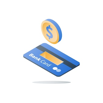 Carta di credito, metodo di pagamento, servizi bancari, prestito facile, programma di rimborso, risparmio di denaro, soluzione finanziaria, carta bancaria isometrica, moneta da un dollaro