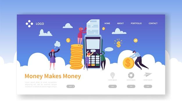 Concetto di terminale di pagamento con carta di credito per la pagina di destinazione