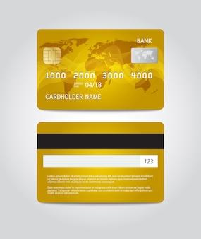 Disegno del modello di carta di credito. due lati. vettore