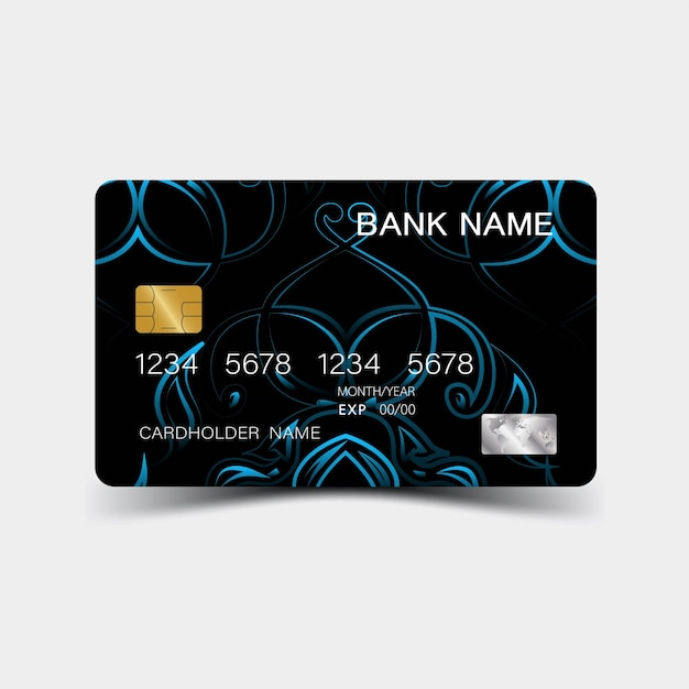 Carta di credito con disegno di elementi blu e ispirazione astratta su sfondo bianco lucido p