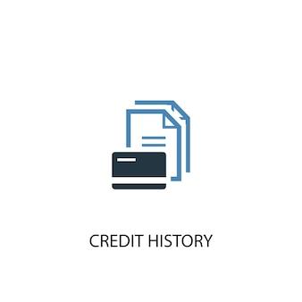 Icona colorata di concetto 2 di storia di credito. illustrazione semplice dell'elemento blu. disegno di simbolo di concetto di storia di credito. può essere utilizzato per ui/ux mobile e web