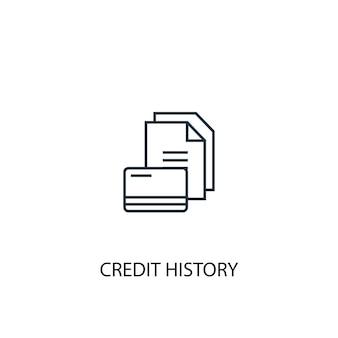 Icona della linea del concetto di storia del credito. illustrazione semplice dell'elemento. disegno di simbolo di struttura di concetto di storia di credito. può essere utilizzato per ui/ux mobile e web