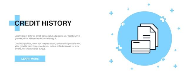 Icona della storia del credito, concetto di modello di struttura del banner. disegno dell'illustrazione della linea di storia del credito