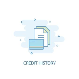 Concetto di linea di storia del credito. icona della linea semplice, illustrazione colorata. design piatto simbolo di storia di credito. può essere utilizzato per ui/ux