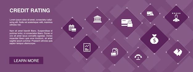 Il rating del credito banner 10 icone concept.rischio di credito, punteggio di credito, fallimento, canone annuale