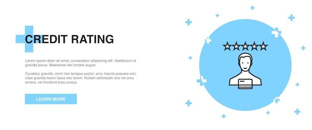 Icona di valutazione del credito, concetto di modello di struttura del banner. disegno dell'illustrazione della linea di valutazione del credito