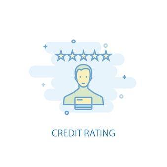 Concetto di linea di rating del credito. icona della linea semplice, illustrazione colorata. design piatto simbolo di rating del credito. può essere utilizzato per ui/ux