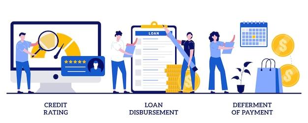 Valutazione del credito, erogazione del prestito, differimento del concetto di pagamento con persone minuscole. insieme dell'illustrazione di servizio bancario. valutazione del rischio, prestito studentesco, termini di pagamento, metafora del disagio finanziario.