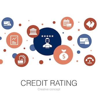 Modello di cerchio alla moda di rating del credito con icone semplici. contiene elementi quali rischio di credito, punteggio di credito, fallimento, tariffa annuale