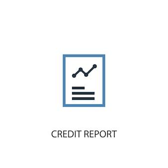 Concetto di relazione di credito 2 icona colorata. illustrazione semplice dell'elemento blu. disegno di simbolo del concetto di rapporto di credito. può essere utilizzato per ui/ux mobile e web