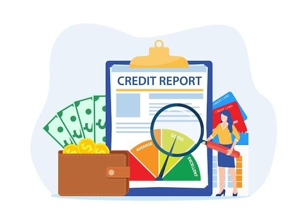 Concetto di documento di rapporto di credito. Vettore Premium