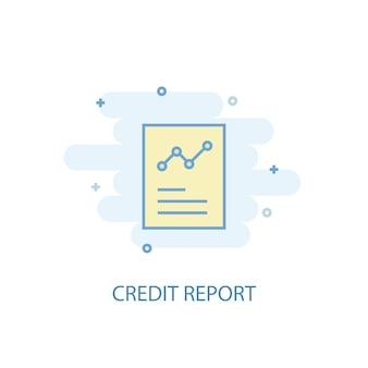 Concetto di linea di rapporto di credito. icona della linea semplice, illustrazione colorata. design piatto simbolo rapporto di credito. può essere utilizzato per ui/ux