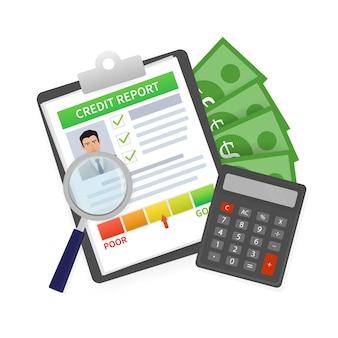 Rapporto di credito con la mano. biglietto da visita. concetto in linea. grafico finanziario. concetto in linea.