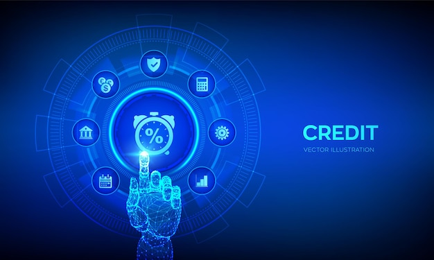 Pulsante punteggio di credito credito o prestito ipotecario che valuta il concetto di business sullo schermo virtuale interfaccia digitale commovente della mano robotica