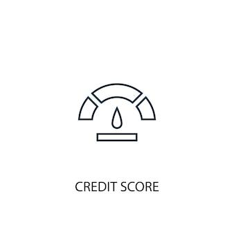 Icona della linea del concetto di punteggio di credito. illustrazione semplice dell'elemento. disegno di simbolo di struttura del concetto di punteggio di credito. può essere utilizzato per ui/ux mobile e web