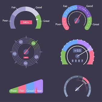 Set di icone di punteggio di credito isolato su priorità bassa.
