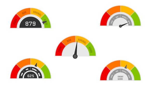 Indicatori del punteggio di credito con livelli di colore da poveri a buoni. rating del credito buono e scarso, indicatore di credito. vettore