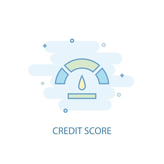 Concetto di linea di punteggio di credito. icona della linea semplice, illustrazione colorata. design piatto simbolo del punteggio di credito. può essere utilizzato per ui/ux