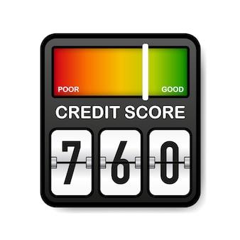 Misuratore del punteggio di credito. valutazione buona e scarsa. punteggio di scala.