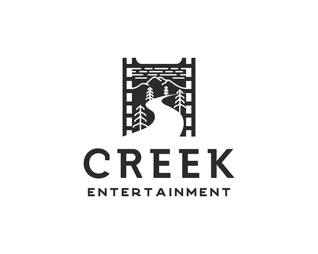 Logo di intrattenimento creek. pellicola in rotolo con modello di progettazione del logo stream e montagne