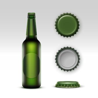 Creen bottle beer con etichetta verde e set di tappi