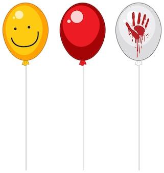 Palloncini raccapriccianti con sangue Vettore Premium