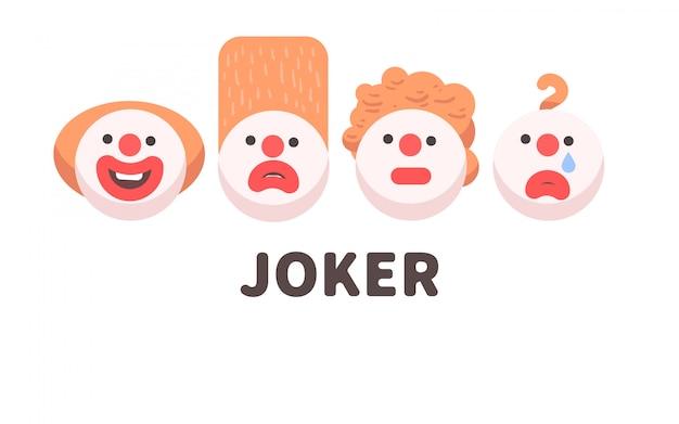 Set di facce da clown raccapricciante
