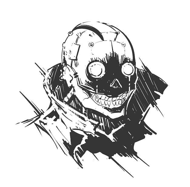 Raccapricciante ritratto cyberpunk di un uomo malvagio con impianti