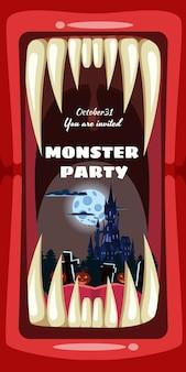 Creepy monster halloween invito a una festa con denti da vampiro o mostro