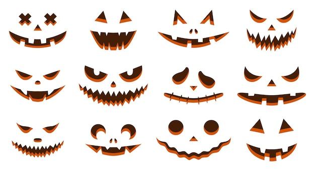 Fisionomie inquietanti. zucche di halloween con sagome di volti con occhi, bocche, nasi