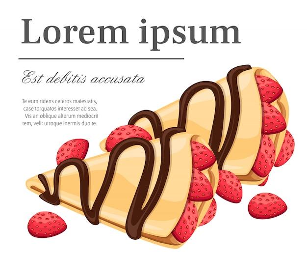 Crepe con fragole e cioccolato gustose frittelle illustrazione posto per il testo sulla pagina del sito web sfondo bianco e app mobile