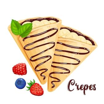 Crepes con illustrazione di banane e frittelle al cioccolato