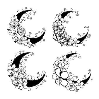Stile floreale della luna crescente, collezione di elementi decorativi della luna