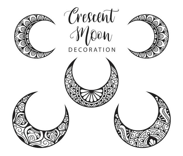 Collezione di elementi decorativi luna in stile mandala a mezzaluna