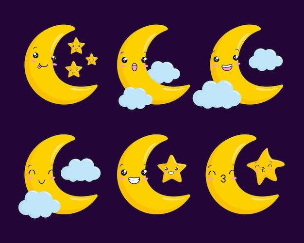 Cartone animato luna crescente e stella kawaii