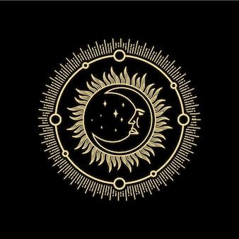 Mezzaluna con ornamento volto umano in stile antico incisione boho tatuaggio tarocchi vettore