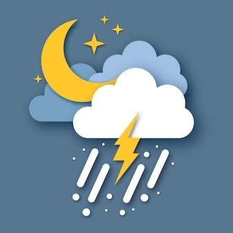 Luna crescente con raincloud e fulmine. carta tagliata meteo. tempo di tempesta. gocce di pioggia nel cielo scuro, stelle e tuoni.