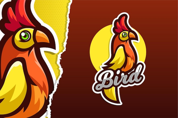 Crested bird e-sport gioco logo modello