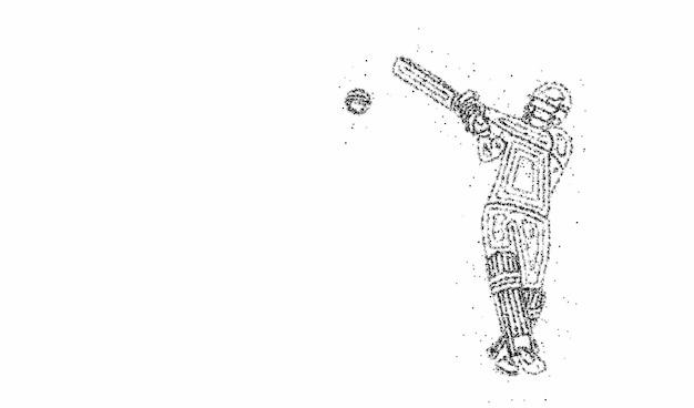Fondo della particella del campionato del battitore dell'insegna del cricket. utilizzare per copertina, poster, modello, brochure, decorato, flyer, banner.