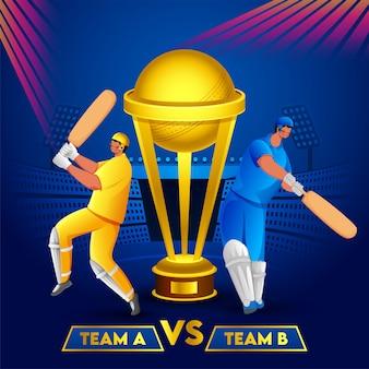 Battitori di cricket della squadra a e della squadra b e coppa del trofeo d'oro su sfondo blu dello stadio. può essere utilizzato come poster.