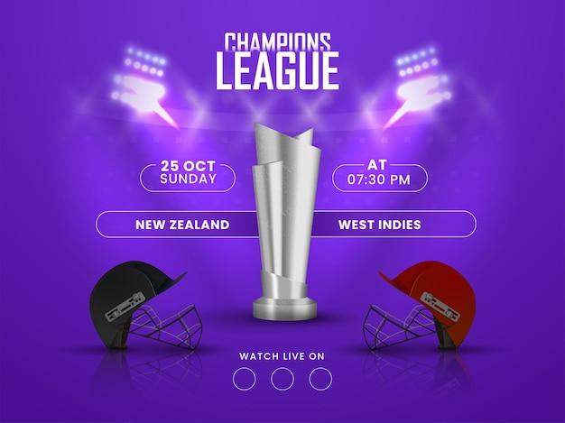 Cricket champion league concept con 3d silver trophy e caschi delle squadre partecipanti della nuova zelanda vs west indies su sfondo viola luci dello stadio.