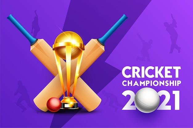 Concetto di campionato di cricket 2021 con mazza da cricket, palla e trofeo della coppa vincente su sfondo viola