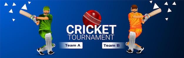 Banner del campionato di cricket con l'illustrazione del giocatore di cricket