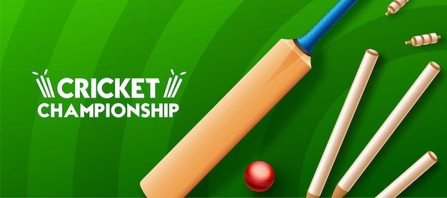 Concetto di campionato di cricket con mazza da cricket, palla e ceppi sul campo da cricket