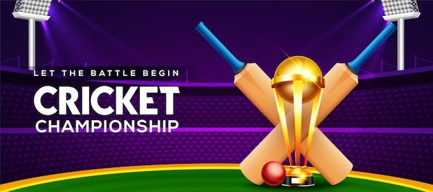 Concetto di campionato di cricket con mazza da cricket, palla e trofeo della coppa vincente sullo stadio di cricket