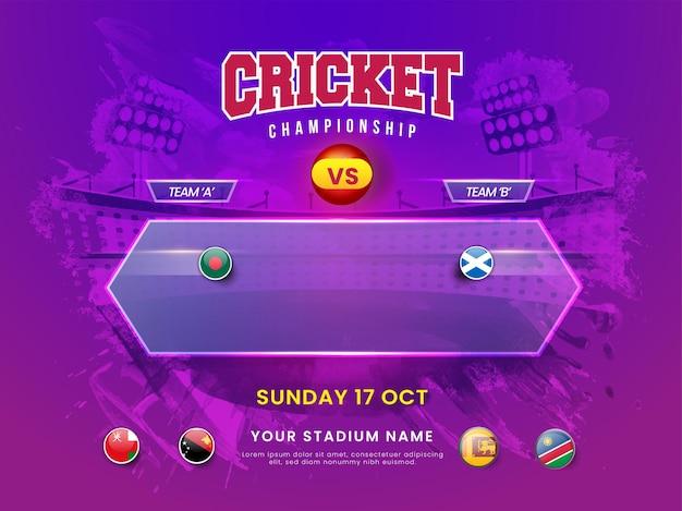 Il concetto di campionato di cricket con il distintivo della bandiera dei paesi partecipanti e il bangladesh vs scozia evidenziato sullo sfondo dello stadio di tratto di pennello viola.