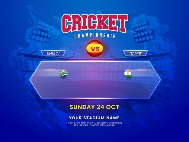 Concetto di campionato di cricket con la squadra partecipante sud africa vs india su sfondo blu dello stadio del colpo di pennello.