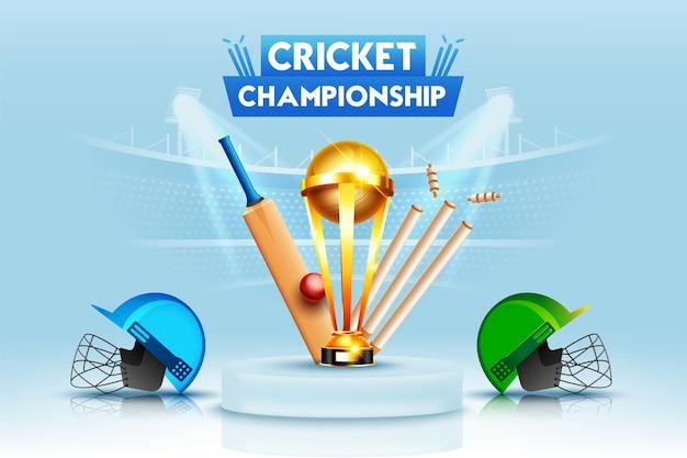 Concetto di campionato di campionato di cricket con mazza da cricket, palla, ceppo, casco e trofeo della coppa vincente.